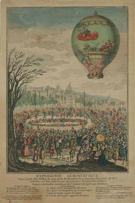 19/01/1784 - Le Flesselles | Experience aërostatique faite à Lyon ; d'un ballon de cent pieds de diamètre le 10 (i.e. 19) janvier 1784, à midi 48 min(u)tes