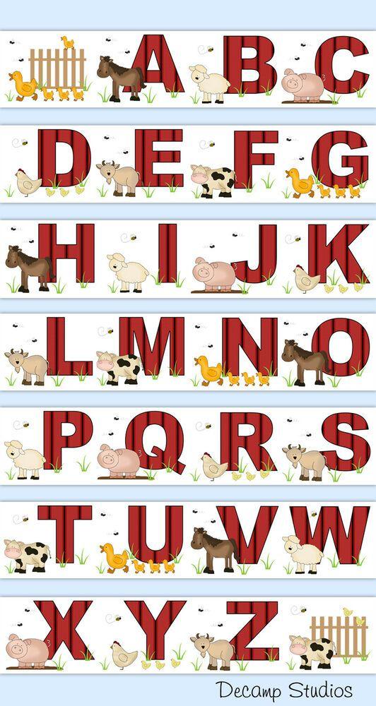 Farm Animals Alphabet Nursery Decal Wallpaper Border Wall Art Stickers Kids Room