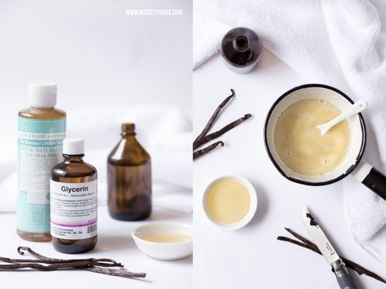 Zutaten für DIY Badeschaum: Naturseife, Glycerin, Mandelöl