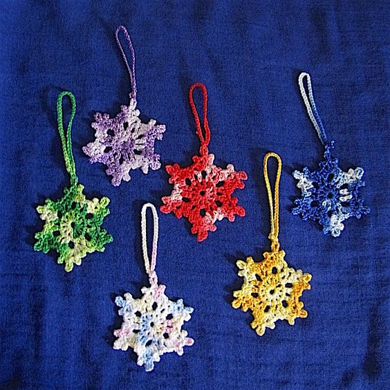 This set of six hand crocheted snowflake shaped Christmas tree decorations (Set A) might make a lovely gift to send to someone overseas. It is on sale at envirocrafted.aradium.com #envirocrafted #handmade #gifts #crochet #Christmas #Xmas #madeinaustralia #Cairns #smallbusiness #shoplocal #htla #makersunitedaust