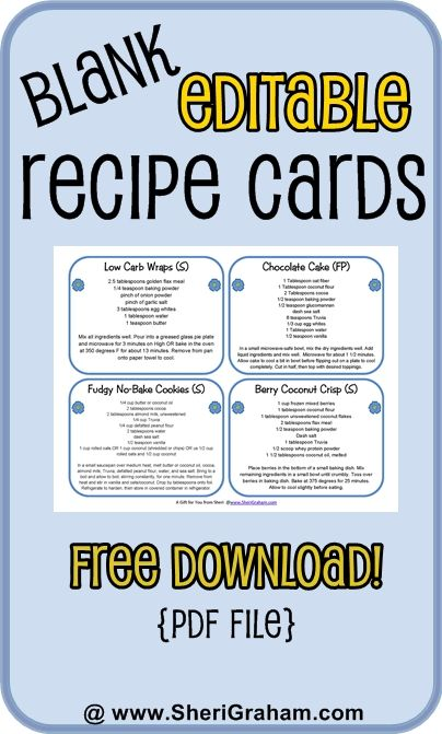 Blank Editable Recipe Cards {free download} - Sheri Graham  These are great for laminating and putting on a ring.  Put near the blender or somewhere you cook often.: