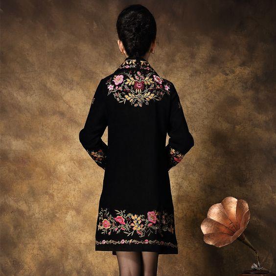 Bordado casaco para mulheres 2015 primavera nova chegada de China de estilo nacional bordado pleuche casaco feminino em Lã e Mesclas de Roupas e Acessórios no AliExpress.com | Alibaba Group