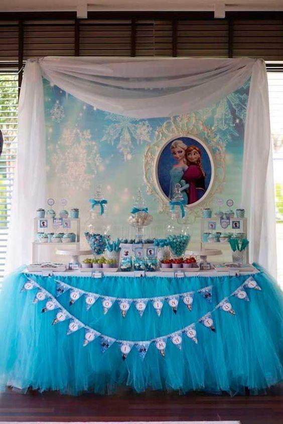 Como Decorar Mesa De Dulces De Frozen Fiestas Infantiles De Frozen Fiesta De Frozen Cumpleaños Frozen Decoracion