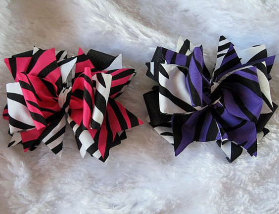 Purple and Pink Zebra Fabric Bows