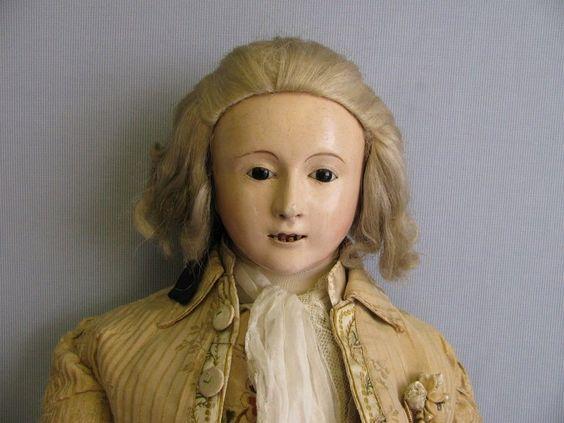"""32"""" French Mozart Doll c1840 Andreas VOIT Papier-Mâché 18th C COURT GENTLEMAN"""