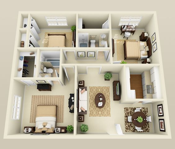 50 Four U201c4u201d Bedroom Apartment/House Plans | Formal Dining Rooms, Bedroom  Apartment And Outdoor Spaces