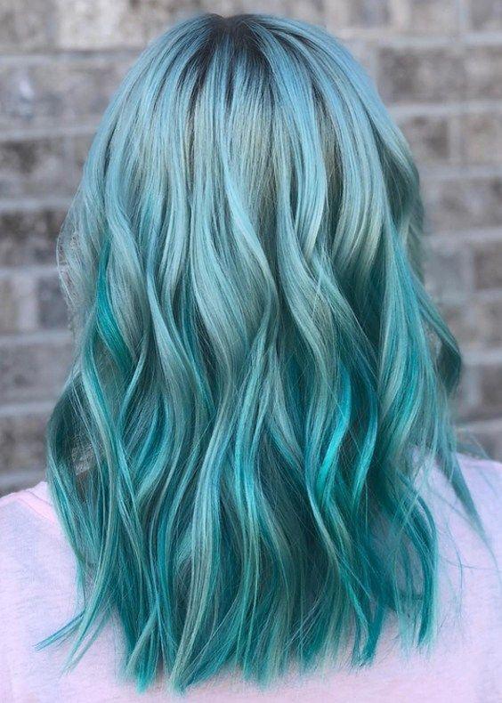 33 Beautiful Blue Green Mermaid Hair Color Ideas For 2018 Blue
