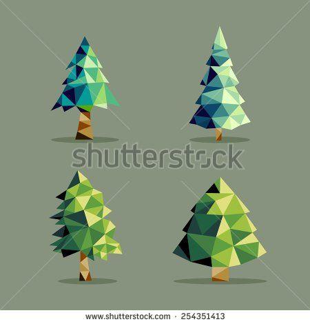 illustration pine tree polygonal - Google Search