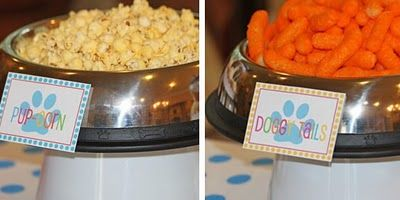 Blue's Clues party - the use of dog bowls. Foods like Bow-wow-nies, pupcorn... Cute doggie bags as favors: