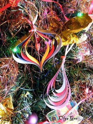 ДекоМИР: Елочные игрушки своими руками из полос цветной бумаги