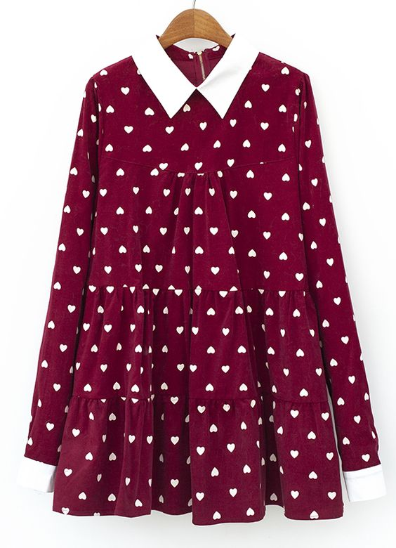 Wine Red Contrast Lapel Hearts Print Pleated Blouse US$42.67