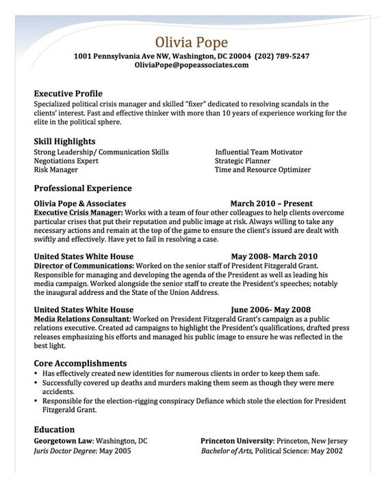olivia pope  state university and resume on pinterest