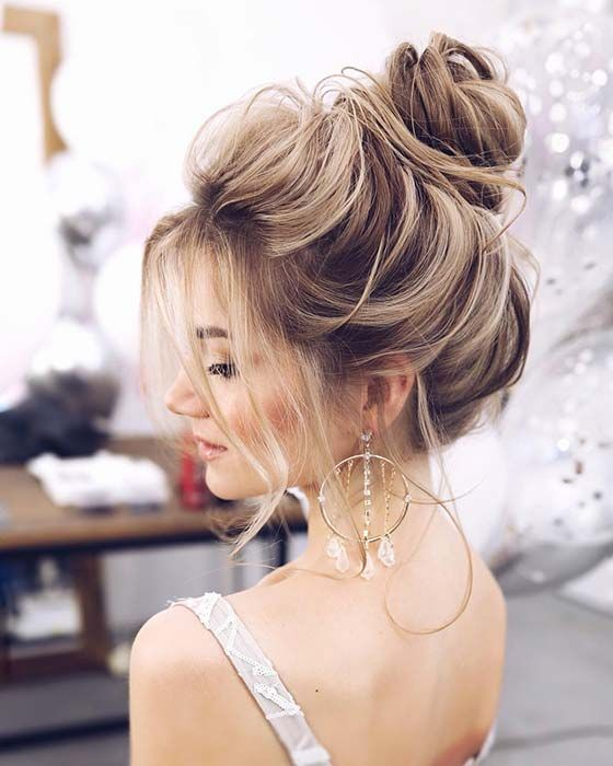 21 Cute And Easy Messy Bun Hairstyles With Images High Bun Hairstyles Hair Styles Prom Hairstyles For Long Hair