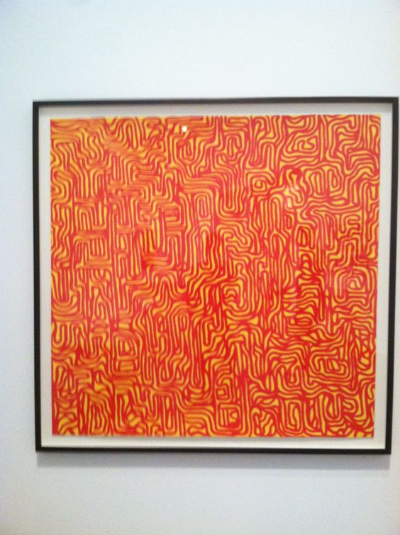 Gouache on paper by Sol Lewitt 1999 in Williams College Museum