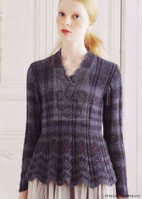 Пуловер спицами с ажурным низом. Схемы