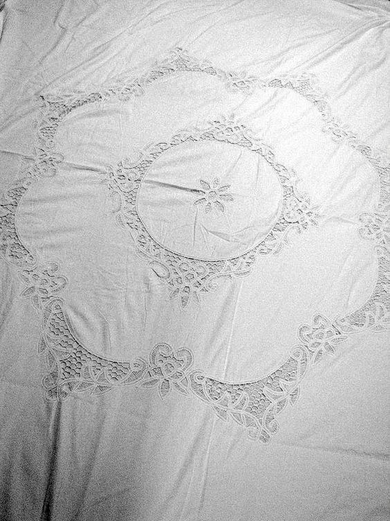 Duvet Cover German White Battenburg Lace King Vintage