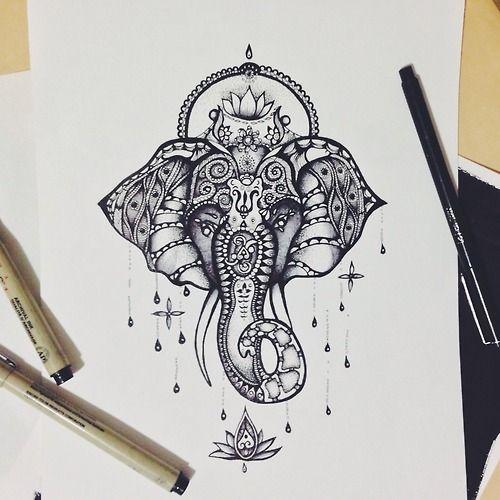 drawing Illustration art jewelry beautiful patterns elephant animal tattoo flower ink africa pen ornate lotus detail mandala India hindu Ganesha swirls linework ballpoint fineliner