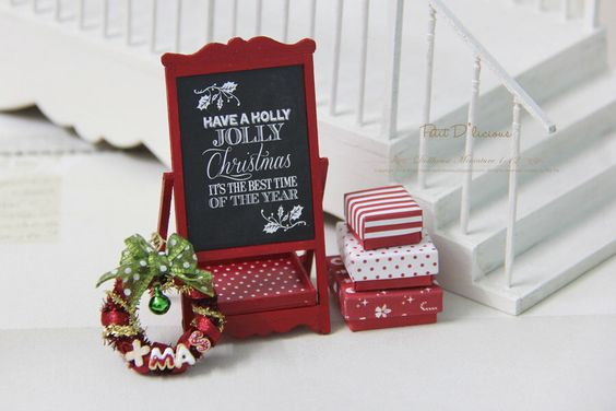 "Christmas RED Chalkboard Display Stand / "" Have a Holly Jolly Christmas"" by PetitDlicious on Etsy https://www.etsy.com/listing/211941704/christmas-red-chalkboard-display-stand"