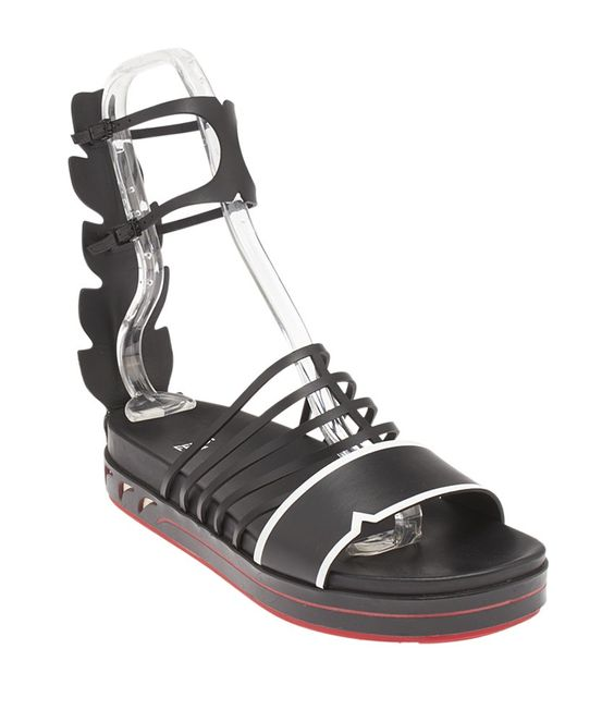 Fendi Cage Black & Red Leather & Rubber Sandals, Size 39
