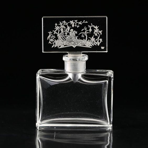 c.1930s Hoffmann crystal scent bottle with intaglio etched figural stopper
