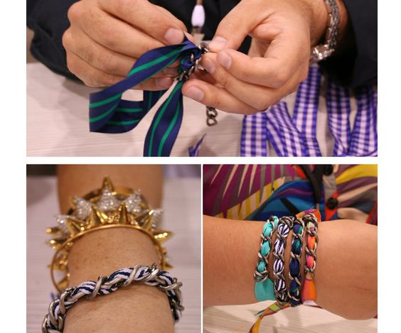 DIY ribbon and chain bracelet. Go crazy with all the ribbon options.: Chain Bracelets, Diy Crafts, Diy Bracelets, Ribbon Bracelets, Ribbon Chains