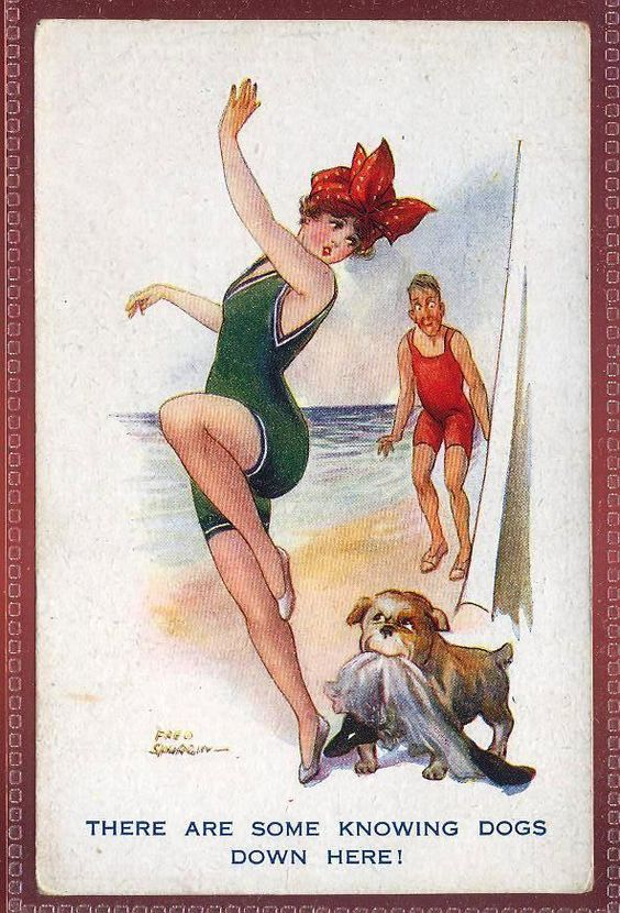 Glamour Bathing Charmers series signed Fred Spurgin seaside comic gla232: