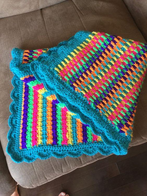 6-Farb-Regenbogen-Bindestrich-Baby-afhgan+von+JudysBabyCloset