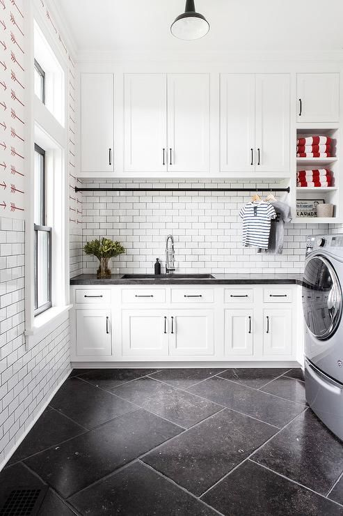 Large Cottage Laundry Room Designed With A Black And White Theme