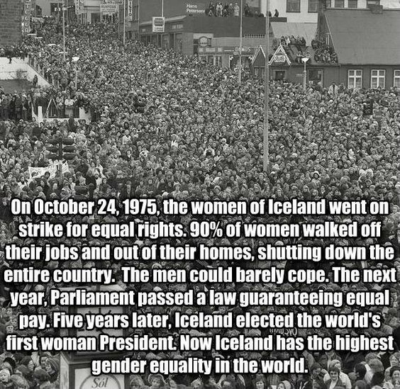 On Oct. 24, 1975, 90% of Icelandic women went on strike, refusing to do any work at their homes or their jobs. It was the largest demonstration in the nation's history and shut down the entire country.