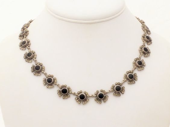 Flower Design Sterling Silver Marcasite and Black Onyx Choker Necklace