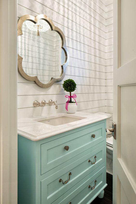 powder bath with aqua blue vanity and shiplap walls| Gordon James Construction | Grace Hill Design: