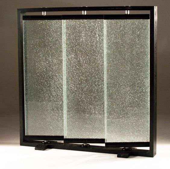 Wall Dividers For Living Room Glass Partition Divider: Triple Panel Crackled Glass Room Partition