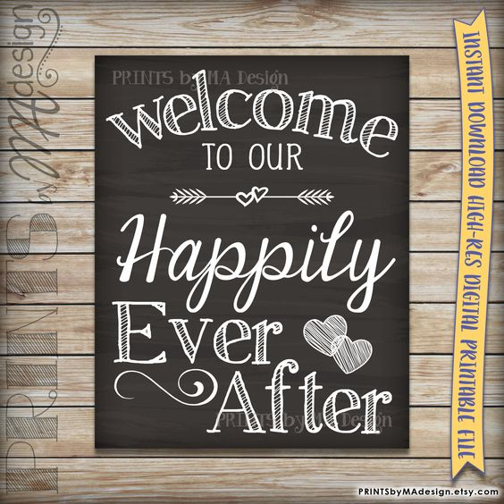 Welcome To Our Happily Ever After Wedding Sign Printable Chalkboard Poster, Reception Decor Wedding Poster, INSTANT DOWNLOAD Digital File by PRINTSbyMAdesign on Etsy
