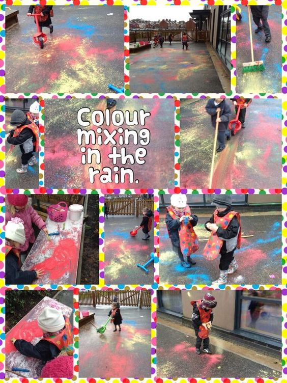 Color Mixing in the rain- powder paint in icing decoration bottles-Twitter@Sarah_L_Vickery