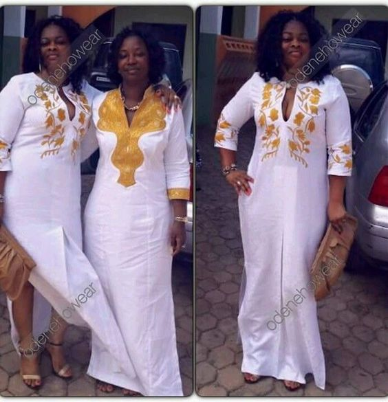 Odeneho Wear Ladies White Polished Cotton Long Dress/Embroidery.African Clothing #OdenehoWear #Kaftan