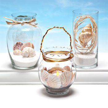 Sand And Shells Here's the items you'll need (shop below or visit one of our stores): •  Shells •  Decorative Sand •  Glass Vase •  Floral Wire •  Raffia •  Glitter Glue •  LED Tealight Candle http://www.dollartree.com/household/arts-and-crafts/craft-ideas/Craft-Idea-Get-Creative-with-Sand-Shells/500c565c572e141/index.ens