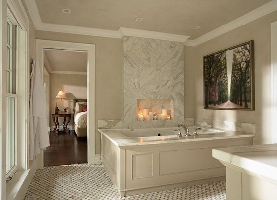 bathroom Classic Bathroom beautiful tub frame molding with marble counter. bathroom Classic Bathroom beautiful tub frame molding with marble