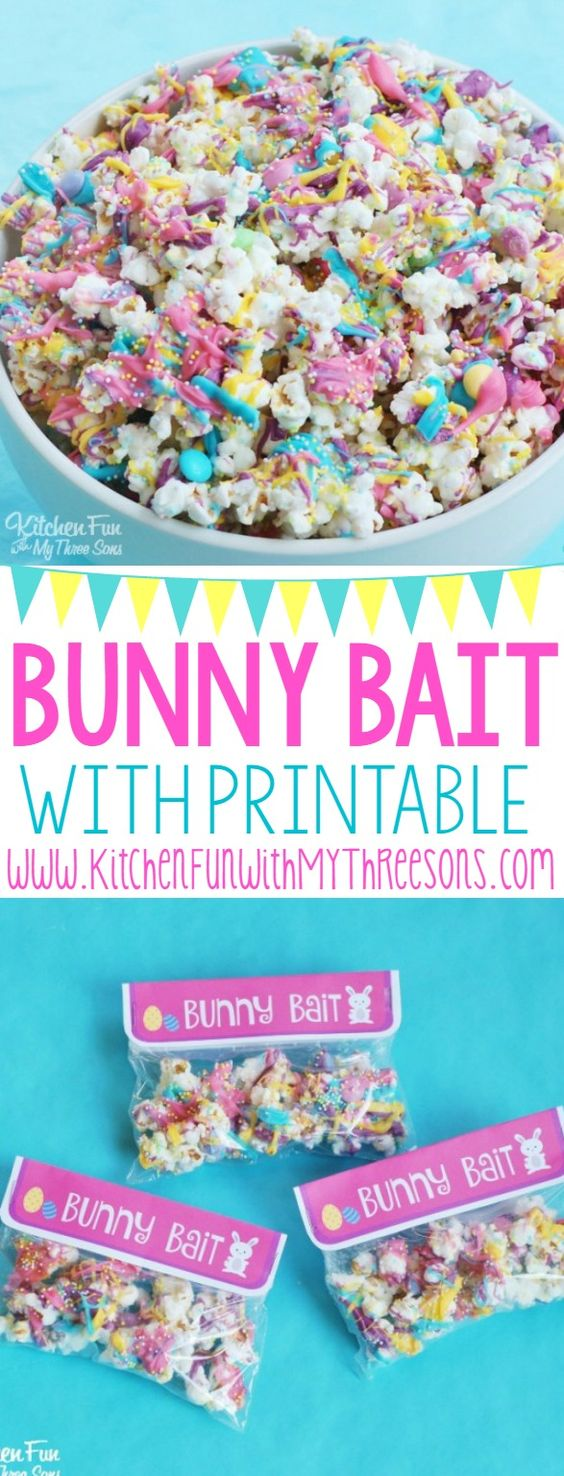 Easter Bunny Bait White Chocolate Funfetti Popcorn with a Free Printable from KitchenFunWithMy3Sons.com   An easy treat that the kids can help make!