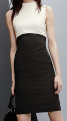 colorblock mock neck sheath dress