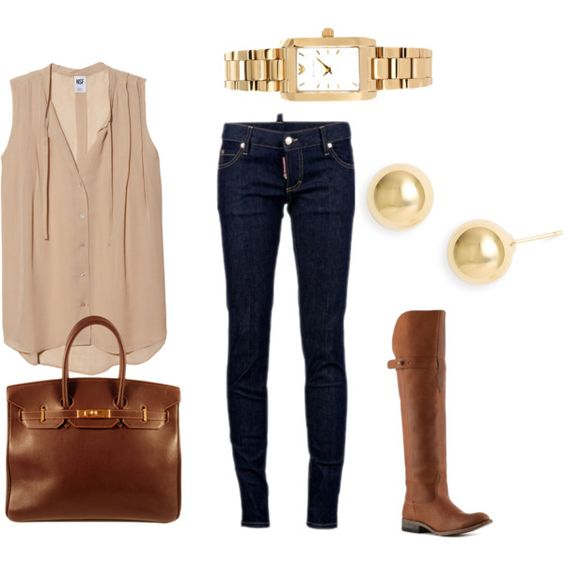 Earthy tones are trending this fall. Nude color flowy tops with tall riding boots and skinny jeans are a great fall outfit.