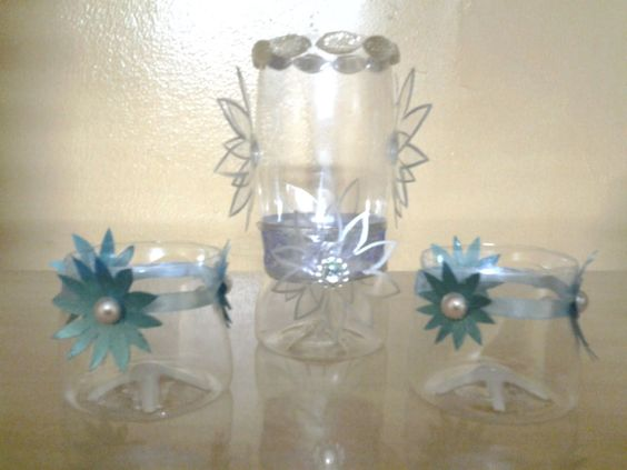 Recycled materials bottle and the box on pinterest for Plastic bottles decoration pieces