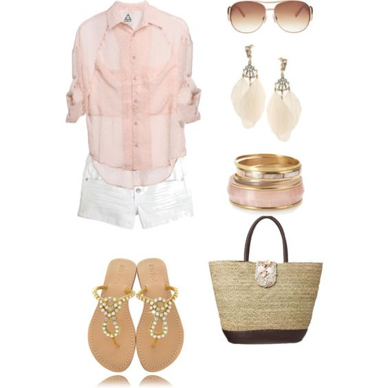 Pink........the softest shade is perfect here. Love the simplicity and femininity of this outfit