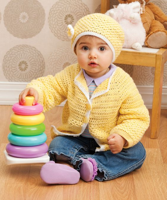 If there is a baby in your life that brightens your days, here's the perfect set to crochet. Made in soft yellow yarn this hat and cardie are the perfect additions to the well-dressed baby's wardrobe.