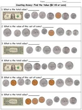 Money: Find the Value ($2.00 or Less) Counting Dollars and Coins ...