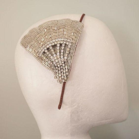 Vintage Art Deco Beaded Rhinestone Fan Side Tiara