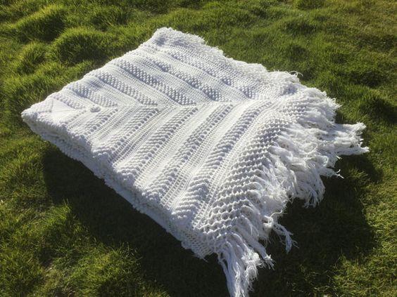 Francés de la colcha blanca vintage Crochet por VintagedeFrance