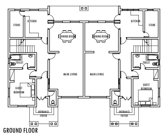 4 bedroom semi detached duplex ground floor plan for House plans semi detached
