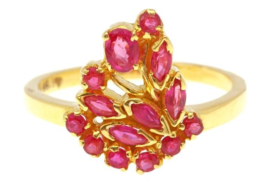 A fancy Ring crafted in Gold and set with Ruby