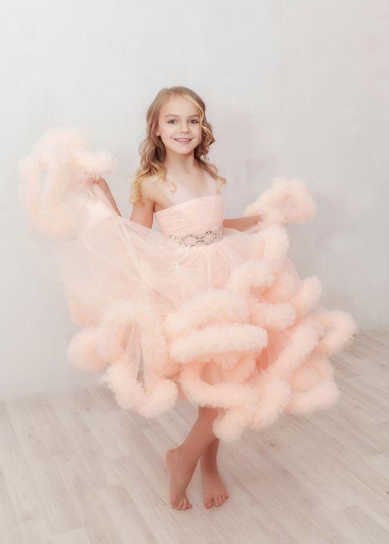 Персиковое платье-облако для девочки — Your Dress