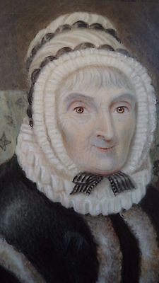 GEORGIAN c1820 MINIATURE PORTRAIT OLD LADY WITH FINGERLESS MITTENS: